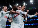 Tottenham Hotspur's Serge Aurier celebrates scoring their third goal with Christian Eriksen, Harry Winks and Dele Alli pictured on November 26, 2019