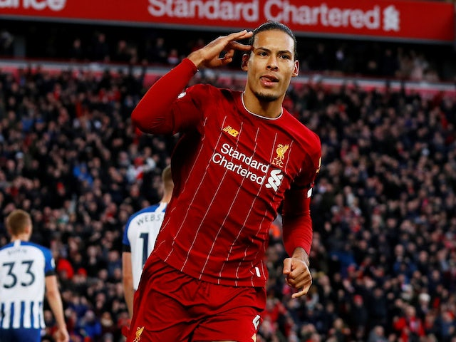 Virgil van Dijk celebrates scoring for Liverpool on November 30, 2019
