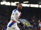 Wilfried Zaha celebrates scoring for Crystal Palace on November 30, 2019
