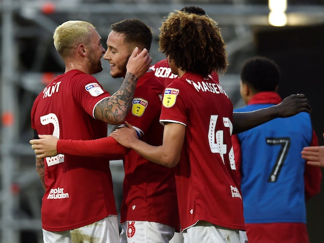 Bristol City's Josh Brownhill celebrates scoring their first goal against Fulham on December 7, 2019