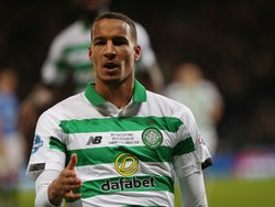 Christopher Jullien celebrates scoring for Celtic in the League Cup on December 8, 2019