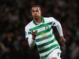 Celtic's Christopher Jullien celebrates scoring their first goal on December 8, 2019