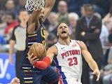 Detroit Pistons forward Blake Griffin (23) drives to the basket against Cleveland Cavaliers center Tristan Thompson (13) in the first quarter at Rocket Mortgage FieldHouse on December 4, 2019