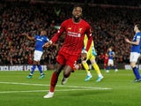 Divock Origi celebrates scoring for Liverpool against Everton in the Premier League on December 4, 2019.