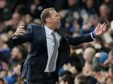 Everton interim manager Duncan Ferguson celebrates their first goal on December 7, 2019