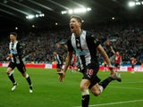 Newcastle United's Federico Fernandez celebrates scoring their second goal on December 8, 2019