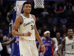 Milwaukee Bucks forward Giannis Antetokounmpo (34) reacts during the first half against the Detroit Pistons at Little Caesars Arena on December 5, 2019