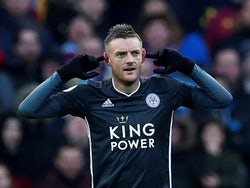 Jamie Vardy celebrates scoring for Leicester City at Aston Villa on December 8, 2019