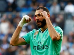 Real Madrid's Karim Benzema celebrates scoring their second goal against Espanyol on December 7, 2019