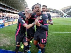 Leeds United's Ezgjan Alioski celebrates scoring their first goal with teammates on December 7, 2019