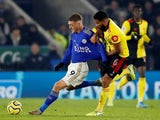 Leicester City's Jamie Vardy in action with Watford's Adrian Mariappa on December 4, 2019