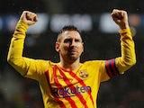 Lionel Messi celebrates scoring for Barcelona on December 1, 2019