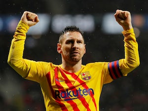 Lionel Messi celebrates scoring for Barcelona on December 1, 2019