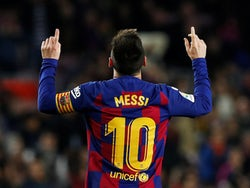 Lionel Messi celebrates scoring for Barcelona on December 7, 2019