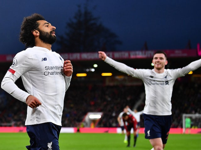 Liverpool's Mohamed Salah celebrates scoring their third goal on December 7, 2019