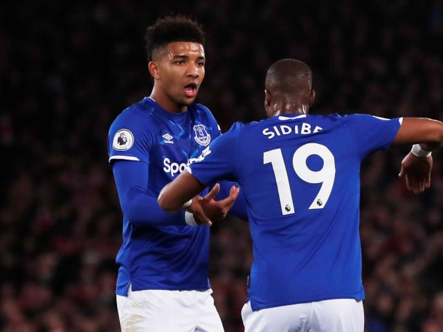 Mason Holgate and Djibril Sidibe argue as Everton capitulate against Liverpool in the Premier League on December 4, 2019.