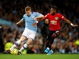 Kevin De Bruyne and 'Fred' in action during the Premier League game between Manchester City and Manchester United on December 7, 2019