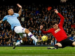 Gabriel Jesus and Victor Lindelof in action during the Premier League game between Manchester City and Manchester United on December 7, 2019