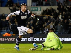 Aiden O'Brien scores an equaliser for Millwall on December 6, 2019