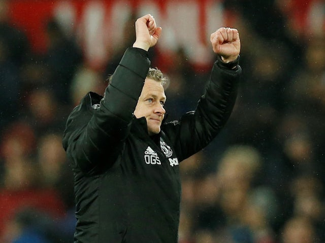 Manchester United manager Ole Gunnar Solskjaer celebrates after the match against on Tottenham on December 4, 2019
