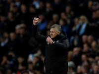 Ole Gunnar Solskjaer celebrates during the Premier League game between Manchester City and Manchester United on December 7, 2019
