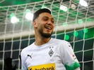 Ramy Bensebaini celebrates scoring for Borussia Monchengladbach on December 7, 2019