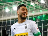 Ramy Bensebaini celebrates scoring for Borussia Monchengladbach on December 7, 2019