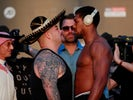 Andy Ruiz Jr and Anthony Joshua go head to head during the weigh-in on December 6, 2019