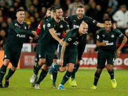 Newcastle United's Jonjo Shelvey celebrates scoring their second goal with teammates on December 5, 2019