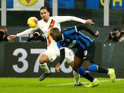 Inter Milan's Romelu Lukaku in action with AS Roma's Chris Smalling on December 6, 2019