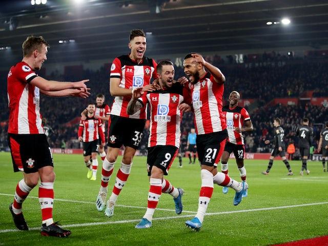 Southampton's Ryan Bertrand celebrates scoring their second goal with teammates on December 4, 2019