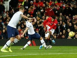 Manchester United's Marcus Rashford scores against Tottenham Hotspur in the Premier League on December 4, 2019
