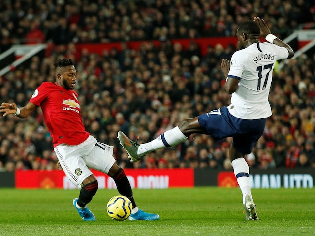 Manchester United's Fred in action with Tottenham Hotspur's Moussa Sissoko in the Premier League on December 4, 2019