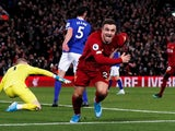 Liverpool's Xherdan Shaqiri celebrates scoring their second goal on December 4, 2019