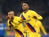 Barcelona's Anssumane 'Ansu' Fati celebrates scoring their second goal