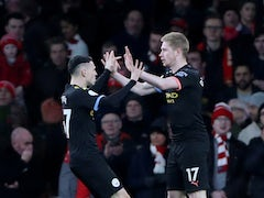 Kevin De Bruyne celebrates putting Manchester City into the lead against Arsenal in the Premier League on December 15, 2019.