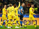 Barcelona's Carles Perez celebrates scoring their first goal with teammates on December 10, 2019