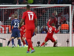 Bayern Munich's Thomas Muller scores against Tottenham Hotspur in the Champions League on December 11, 2019