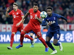 Bayern Munich defender Jerome Boateng in action with Tottenham Hotspur's Ryan Sessegnon in the Champions League on December 11, 2019