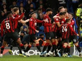 Bournemouth's Dan Gosling celebrates scoring their first goal with teammates on December 14, 2019