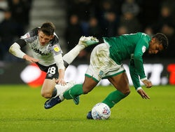 Derby County's Jason Knight in action with Sheffield Wednesday's Kadeem Harris on December 11, 2019