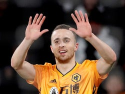 Wolverhampton Wanderers' Diogo Jota celebrates scoring their fourth goal and completing his hat-trick on December 12, 2019