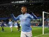 Gabriel Jesus celebrates scoring for Manchester City on December 11, 2019