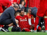 Georginio Wijnaldum sits injured for Liverpool on December 14, 2019