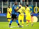 Inter Milan's Romelu Lukaku celebrates scoring their first goal on December 10, 2019