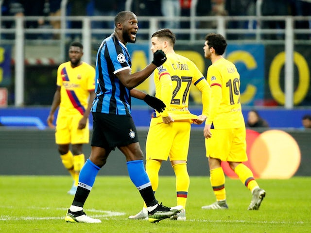 Inter Milan's Romelu Lukaku celebrates scoring their first goal on December 10, 2019
