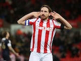 Joe Allen celebrates scoring for Stoke City on December 10, 2019