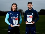 Wycombe manager Gareth Ainsworth and defender Joe Jacobson collect their League One awards for November 2019