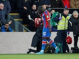 Crystal Palace's Mamadou Sakho looks dejected as he leaves the pitch after being shown a red card on December 3, 2019