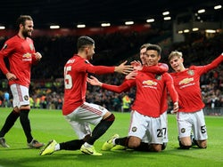 Manchester United's Mason Greenwood celebrates scoring their fourth goal on December 12, 2019